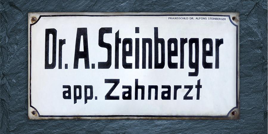 Historisches Praxisschild Alfons Steinberger